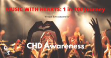 CHD Awareness concert - crowd at concert with hands in heart shape